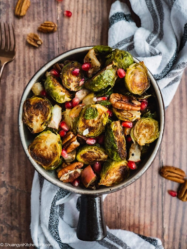 Roasted Brussel Sprouts with Spiced Apples